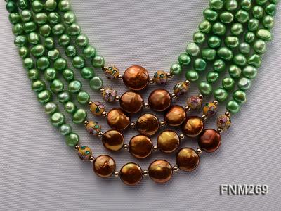 5 strand green and coffee freshwater pearl necklace FNM269 Image 2