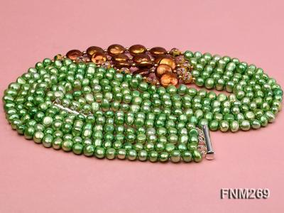 5 strand green and coffee freshwater pearl necklace FNM269 Image 3