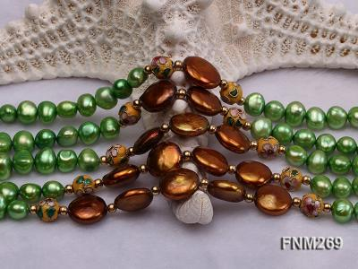 5 strand green and coffee freshwater pearl necklace FNM269 Image 5