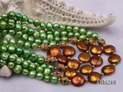 5 strand green and coffee freshwater pearl necklace FNM269 Image 6