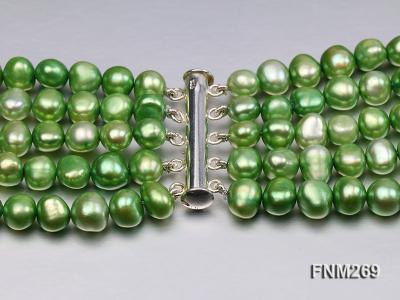 5 strand green and coffee freshwater pearl necklace FNM269 Image 7