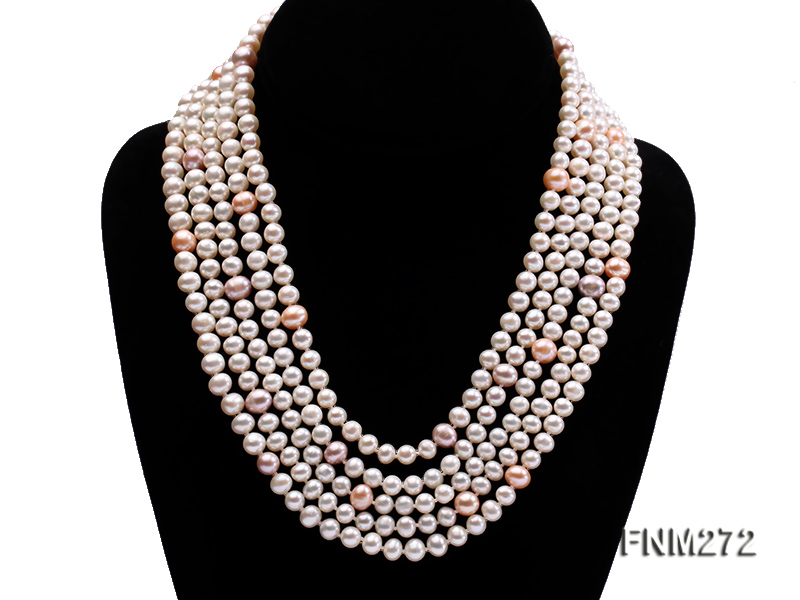 5 strand white and lavender and pink freshwater pearl necklace big Image 1