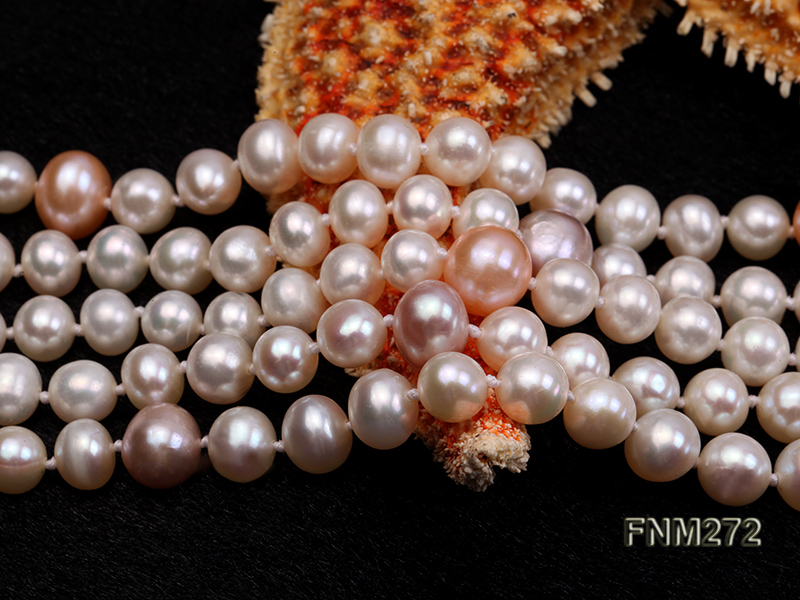5 strand white and lavender and pink freshwater pearl necklace big Image 5
