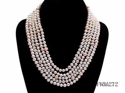 5 strand white and lavender and pink freshwater pearl necklace FNM272 Image 1