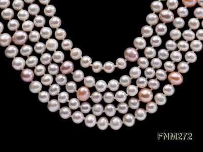 5 strand white and lavender and pink freshwater pearl necklace FNM272 Image 2