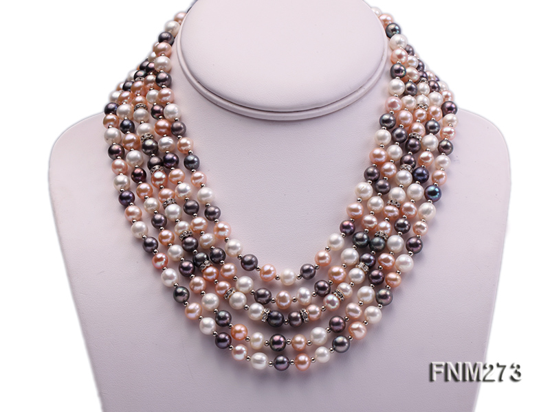 5 strand white,pink and black freshwater pearl necklace big Image 1
