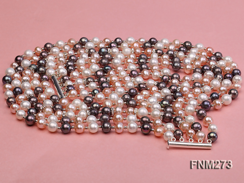 5 strand white,pink and black freshwater pearl necklace big Image 3