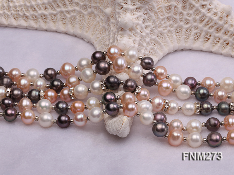 5 strand white,pink and black freshwater pearl necklace big Image 5