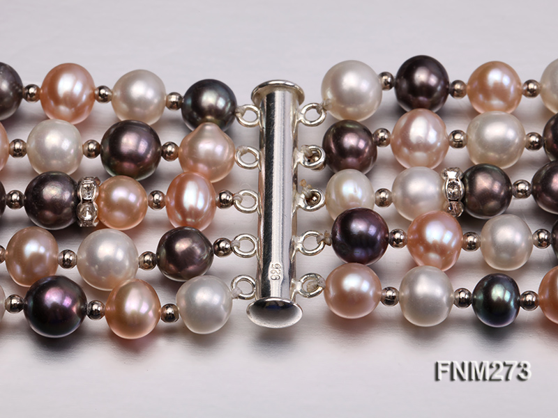5 strand white,pink and black freshwater pearl necklace big Image 6