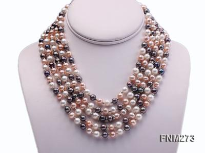 5 strand white,pink and black freshwater pearl necklace FNM273 Image 1
