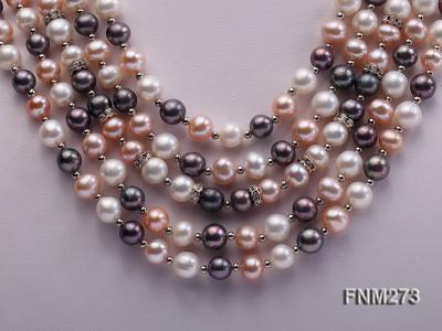 5 strand white,pink and black freshwater pearl necklace FNM273 Image 2