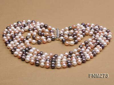 5 strand white,pink and black freshwater pearl necklace FNM273 Image 4