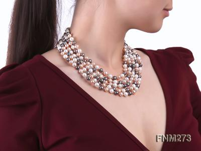 5 strand white,pink and black freshwater pearl necklace FNM273 Image 7