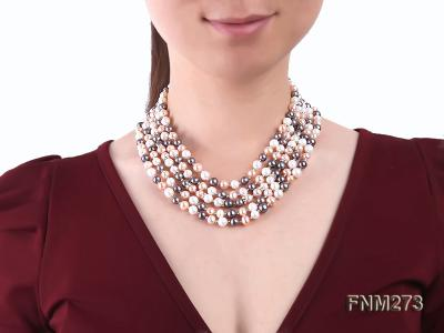 5 strand white,pink and black freshwater pearl necklace FNM273 Image 8