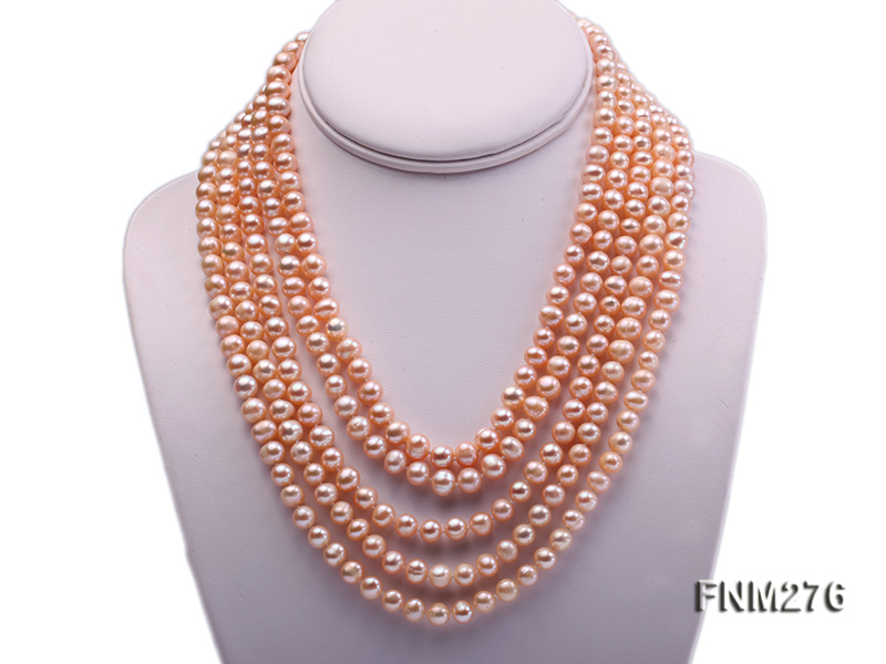 5 strand 7-8mm pink freshwater pearl necklace with sterling sliver clasp big Image 1