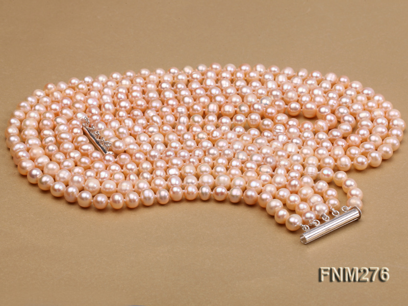 5 strand 7-8mm pink freshwater pearl necklace with sterling sliver clasp big Image 3