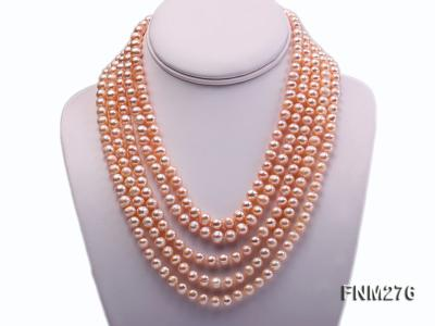 5 strand 7-8mm pink freshwater pearl necklace with sterling sliver clasp FNM276 Image 1