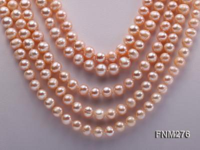 5 strand 7-8mm pink freshwater pearl necklace with sterling sliver clasp FNM276 Image 2