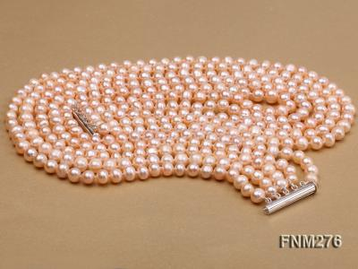 5 strand 7-8mm pink freshwater pearl necklace with sterling sliver clasp FNM276 Image 3