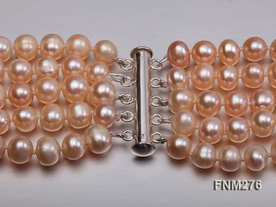 5 strand 7-8mm pink freshwater pearl necklace with sterling sliver clasp FNM276 Image 5