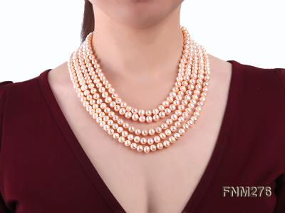 5 strand 7-8mm pink freshwater pearl necklace with sterling sliver clasp FNM276 Image 7