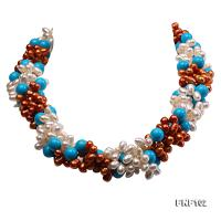 Four-strand 5-6mm White and Coffee Freshwater Pearl and Turquoise Beads Necklace  FNF102