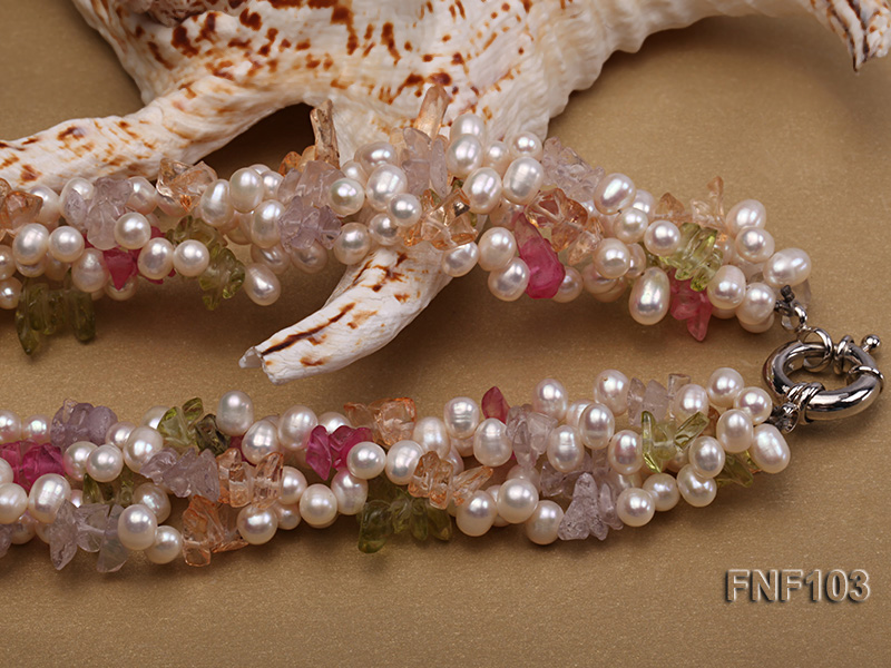 Four-Strand 6-7mm White Freshwater Pearl Necklace with Multi-color Crystal Chips big Image 4