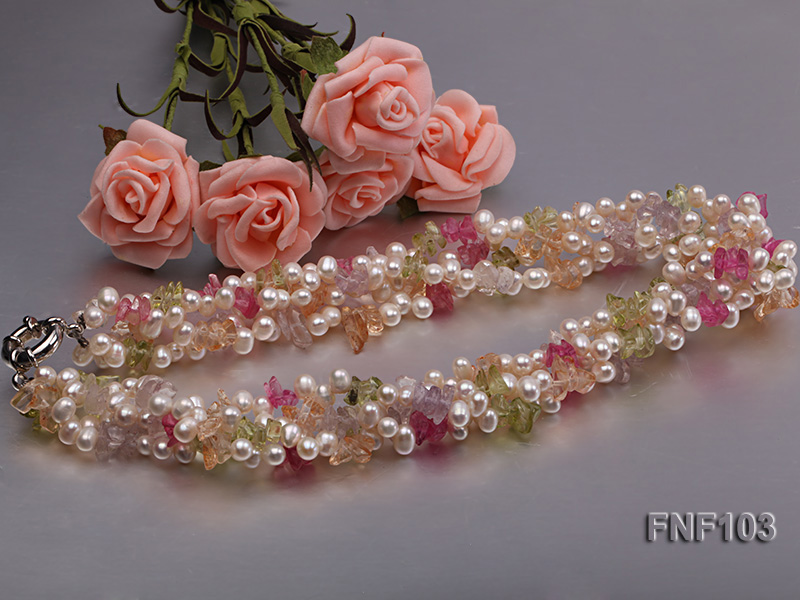 Four-Strand 6-7mm White Freshwater Pearl Necklace with Multi-color Crystal Chips big Image 5