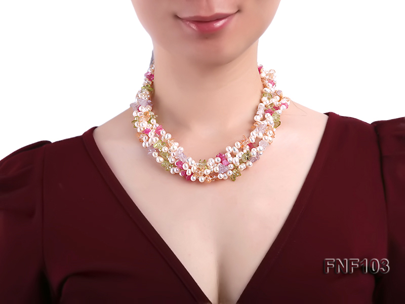 Four-Strand 6-7mm White Freshwater Pearl Necklace with Multi-color Crystal Chips big Image 3