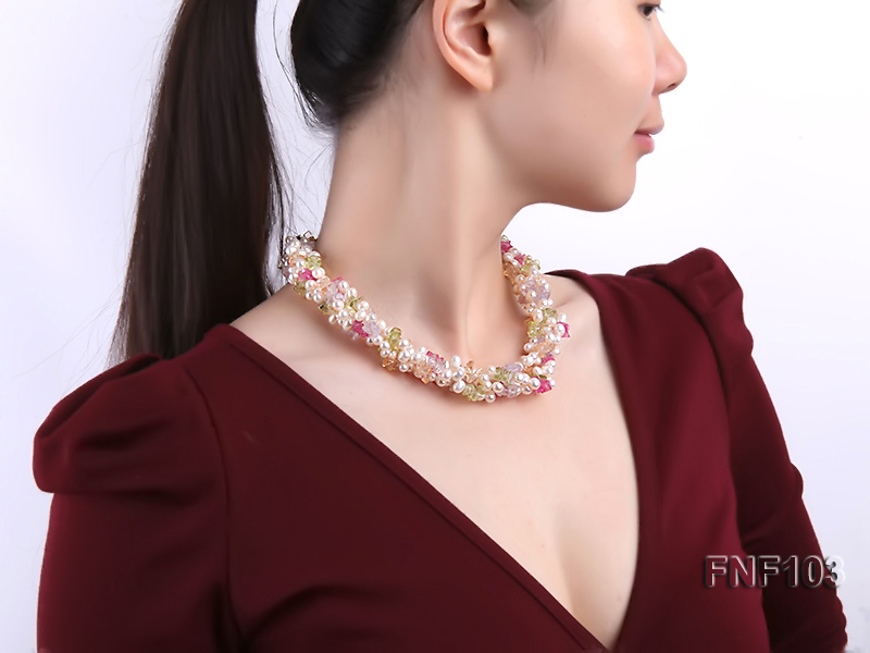 Four-Strand 6-7mm White Freshwater Pearl Necklace with Multi-color Crystal Chips big Image 6