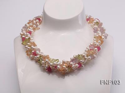 Four-Strand 6-7mm White Freshwater Pearl Necklace with Multi-color Crystal Chips FNF103 Image 1