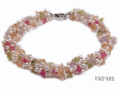 Four-Strand 6-7mm White Freshwater Pearl Necklace with Multi-color Crystal Chips FNF103 Image 2