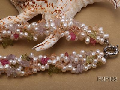 Four-Strand 6-7mm White Freshwater Pearl Necklace with Multi-color Crystal Chips FNF103 Image 4