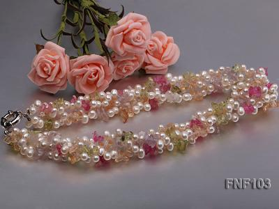 Four-Strand 6-7mm White Freshwater Pearl Necklace with Multi-color Crystal Chips FNF103 Image 5