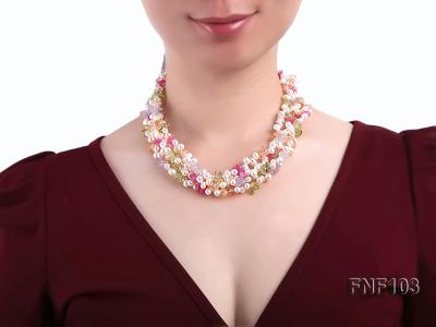 Four-Strand 6-7mm White Freshwater Pearl Necklace with Multi-color Crystal Chips FNF103 Image 3