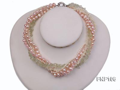 Five-strand Freshwater Pearl, Green Crystal Chips and White Coral Sticks Necklace FNF106 Image 3