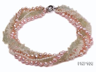 Five-strand Freshwater Pearl, Green Crystal Chips and White Coral Sticks Necklace FNF106 Image 1