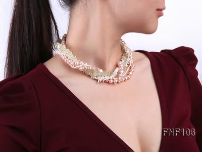 Five-strand Freshwater Pearl, Green Crystal Chips and White Coral Sticks Necklace FNF106 Image 6