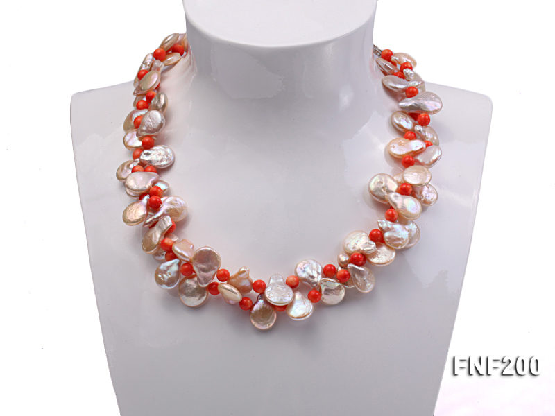 Two-strand 12-13mm Pink Freshwater Pearl Necklace with Orange Coral Beads big Image 3