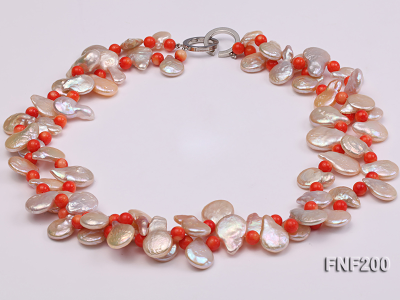Two-strand 12-13mm Pink Freshwater Pearl Necklace with Orange Coral Beads big Image 1