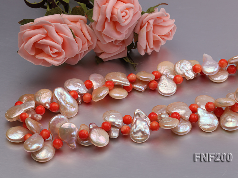 Two-strand 12-13mm Pink Freshwater Pearl Necklace with Orange Coral Beads big Image 4