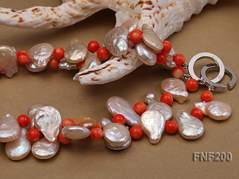 Two-strand 12-13mm Pink Freshwater Pearl Necklace with Orange Coral Beads big Image 6