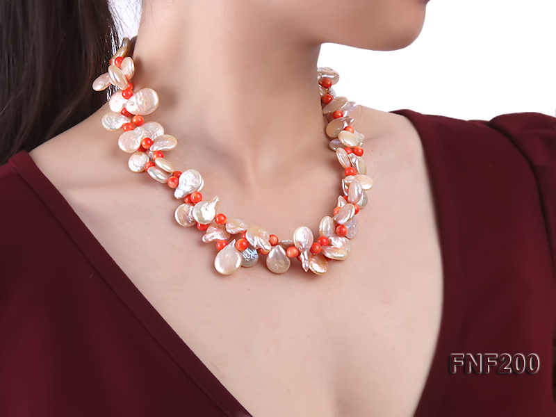 Two-strand 12-13mm Pink Freshwater Pearl Necklace with Orange Coral Beads big Image 7