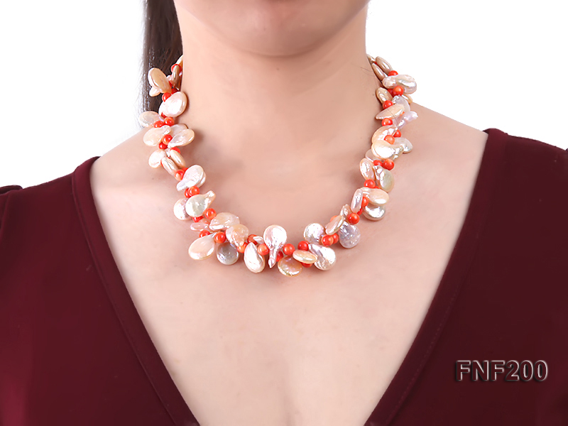 Two-strand 12-13mm Pink Freshwater Pearl Necklace with Orange Coral Beads big Image 2