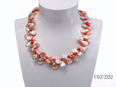 Two-strand 12-13mm Pink Freshwater Pearl Necklace with Orange Coral Beads FNF200 Image 3