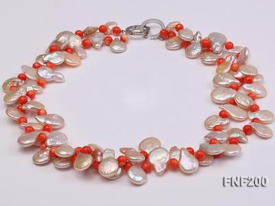 Two-strand 12-13mm Pink Freshwater Pearl Necklace with Orange Coral Beads FNF200 Image 1