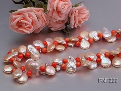 Two-strand 12-13mm Pink Freshwater Pearl Necklace with Orange Coral Beads FNF200 Image 4