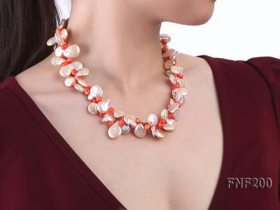 Two-strand 12-13mm Pink Freshwater Pearl Necklace with Orange Coral Beads FNF200 Image 7