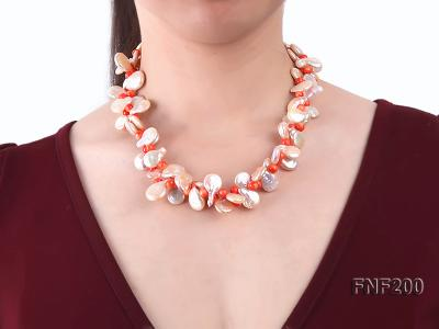 Two-strand 12-13mm Pink Freshwater Pearl Necklace with Orange Coral Beads FNF200 Image 2