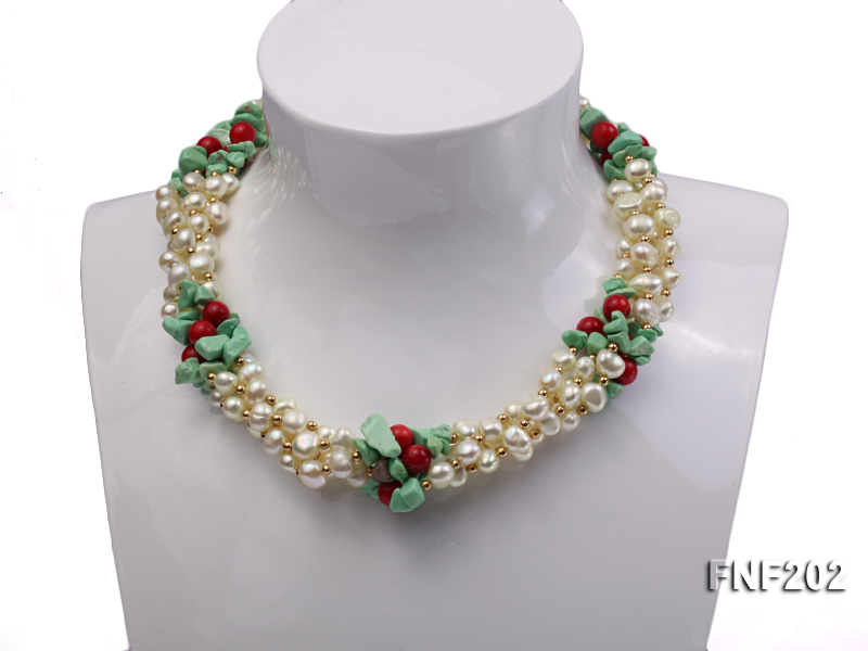 Four-strand 7-8mm White Freshwater Pearl Necklace with Turquoise Chips, Coral Beads and Golden Beads big Image 3